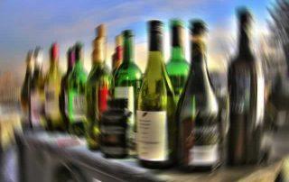 Blurry wine bottles
