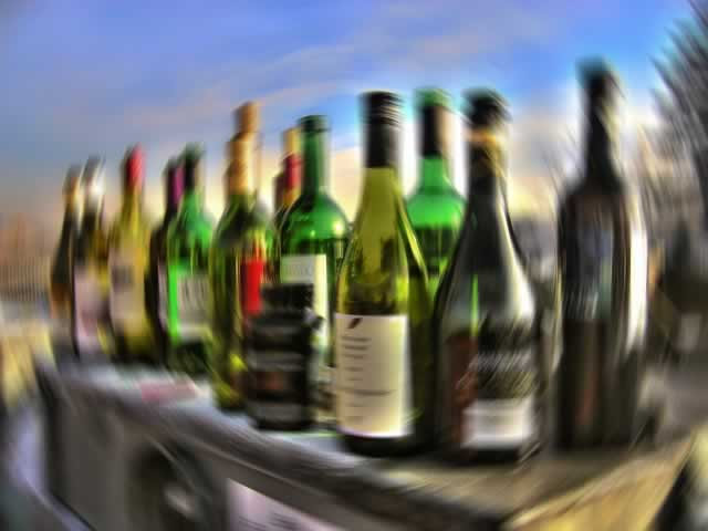Blurry wine bottles